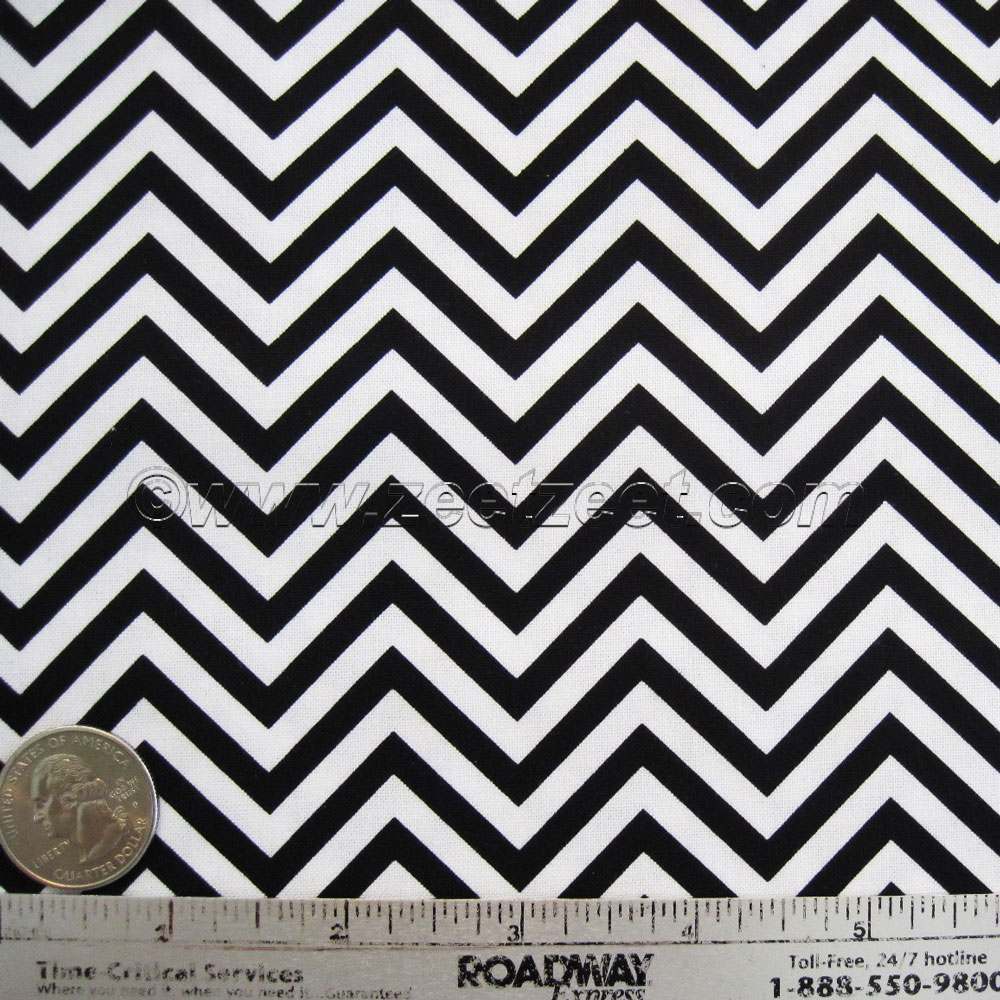 Small Scale CHEVRON Black & White ZIG ZAG Cotton Quilt Fabric by ...