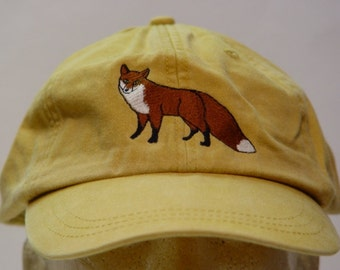 RED FOX HAT - One Embroidered Wildlife Cap - Price Embroidery Apparel - 24 Color Caps Available