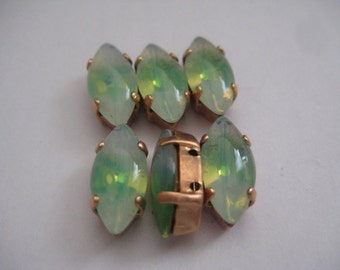 Lot of 6 15x7mm Green Sabrina Navette Shaped W. German Rhinestones in Brass Copper Colored Sew on Settings