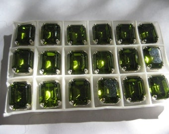 Lot of 4 10x8mm Olivine Octagon Shaped Swarovski Rhinestones in Sew on Settings