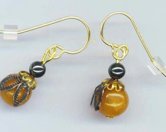 Gold Filled Bee Earrings . Small Tiny Bees . Aventurine Beads . Goldstone Beads . Hematite Beads - I'm a Small Bee by enchantedbeas on Etsy