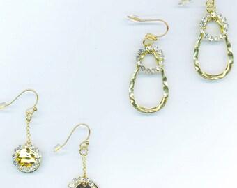 Swarovski Circle Earrings. Sparkling Hoops. Princess Hoops. Round Crystal Pave Hoop Rhinestones - Romantic Earrings by enchantedbeas on Etsy