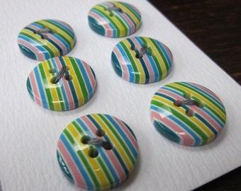 6 Small Green Rainbow Striped Buttons