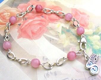 Special Mom Rose Quartz Sterling Charm Bracelet