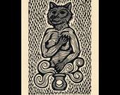Wolf woodcut limited edition Arcanum Bestiarum bestiary print