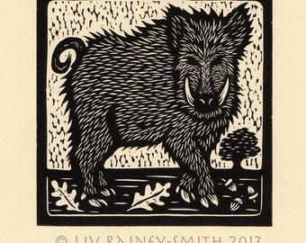 Boar woodcut limited edition Arcanum Bestiarum Bestiary print