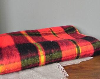 SALE Vintage red plaid throw stadium blanket - bright red yellow grey black - no fringe