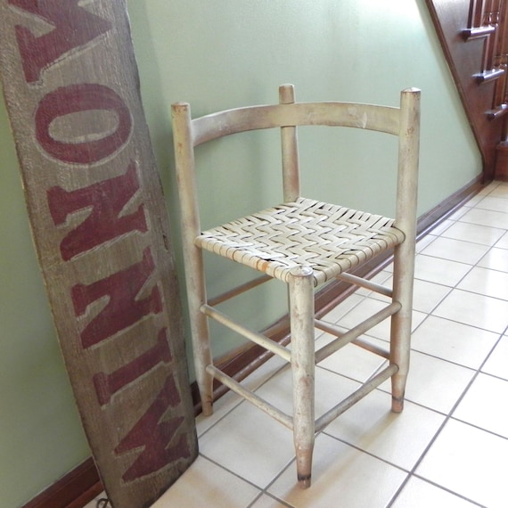 SALE Vintage folk art corner chair - whitewashed cottage white rush seat beach house antique furniture made by Lois and Jack McCutcheon