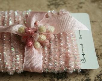 Mini Tinsel Trim Pink - 12 Feet Lovely Spring Pale Pink Tinsel Trim - Narrow Packaging Tinsel String - Wedding Trim - Easter Decoration