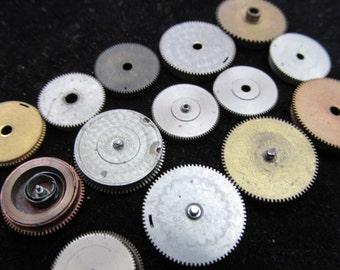 Antique Vintage Clock Watch Parts Cogs Gears Assemblage Steampunk Industrial Art Goodies CG 9