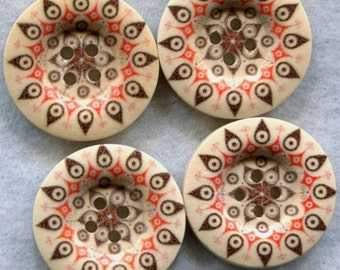 Chocolate Brown Pattern Buttons Decorated Funky Wooden Buttons 23mm (1 inch) Set of 4 /BT197