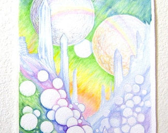 Planet Of The Orbs Original Watercolor Painting
