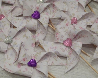 Pinwheel Cupcake Flags - Shabby Heart Glitter Chic  - 12 Fabric  Cake Toppers, use for a Baby Shower, Birthday, Celebration,  or a party