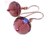 Purple Plum Dangle Earrings Big Bold Amethyst Glass Rondelle Beads Copper Wire Wrapped Drop Earrings