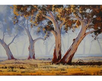 TREES Oil PAINTING Australian artwork Summer landscape Painting by G.Gercken