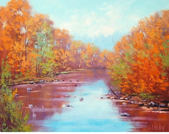 RED ORANGE AUTUMN Painting river fall landscape impressionism fine art by g. gercken
