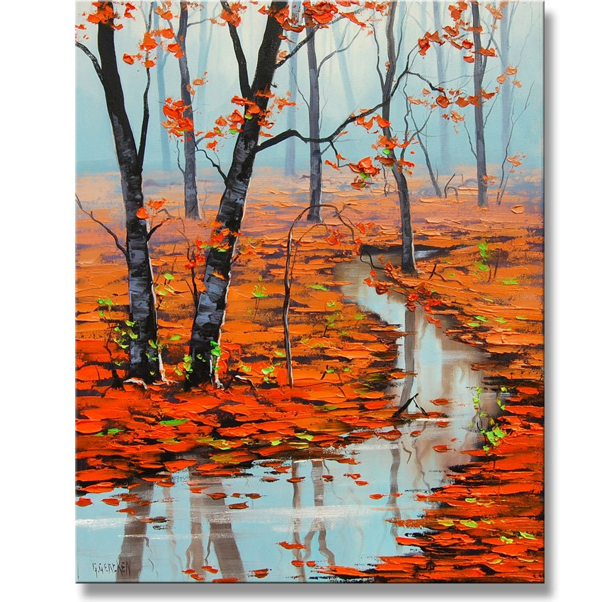 Red autumn oil painting palette knife fall trees for Autumn tree painting