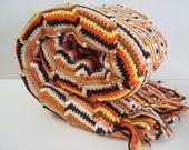 Vintage Handmade  Crochet Afghan Autumn Colors
