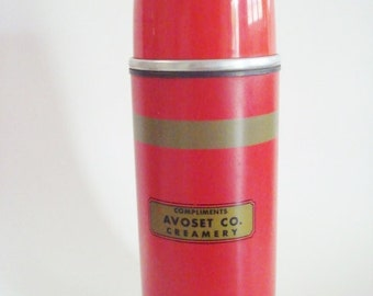 Vintage Aladdin Metal Thermos Red and Tan Quart