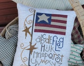 Decorative Pillow Primitive Americana Flag Sampler Cross Stitch - Made to Order