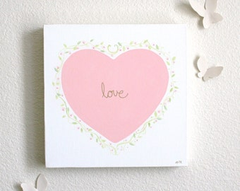 Love is Mine- Original painting with gold leaf, childrens art, hearts, valentines, baby and kids decor