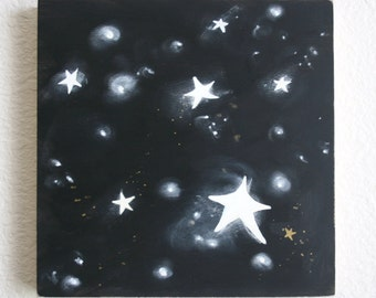 SALE  My Midnight, Original painting, stars, moon, midnight, baby and kids decor, housewares, black and white