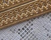 Dresden Trim Germany 5 Rows Fancy Fleur De Lis Paper Lace Antique Gold  DFW 206 AG