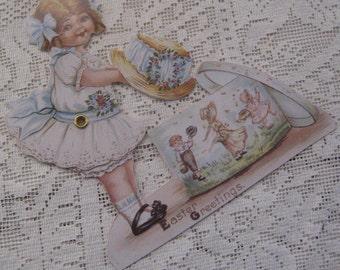 Vintage Easter Card Mechanical Made In USA Little Girl & Easter Bonnet  CD 134
