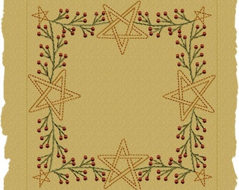 MACHINE EMBROIDERY-Berry Star Garland Candle Mat--4 INCH-Colorwork Stitch-Instant Download