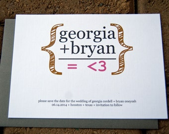 Wedding Save the Date Math Equation Geekery Wedding set of 10 by Belleza e Luce