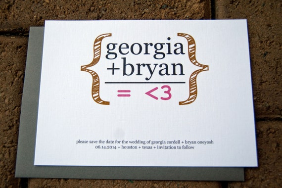 wedding save the date math equation geekery wedding set of 10 etsy