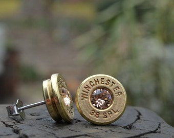 Bullet Earrings stud or post, brass/gold Winchester .38 special with Swarovski crystals