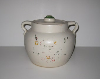 Vintage Shabby Chic Stoneware Bean Pot Cookie Jar