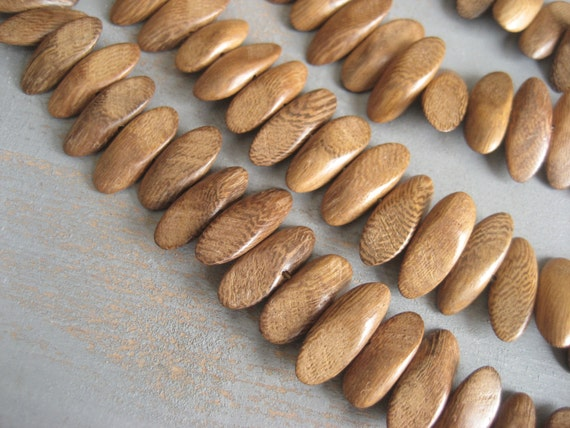 Robles wood beads flat stick wood beads from philippines - 8 x 21 mm / half strand 26 pcs -3aph128
