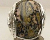 Handmade Sterling Silver Wire Wrap Leopard Skin Agate Ring