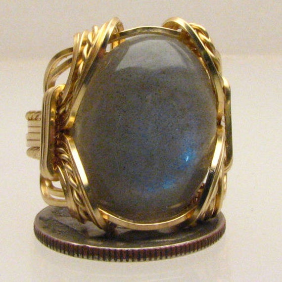 Handmade 14kt Gold Filled Wire Wrapped Labradorite Ring