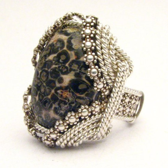 Handmade Sterling Silver Berry Wire Wrap Leopard Skin Agate Ring