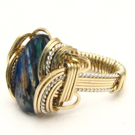 Handmade Wire Wrap Two Tone Sterling Silver/14kt Gold Filled Blue Paua Ring
