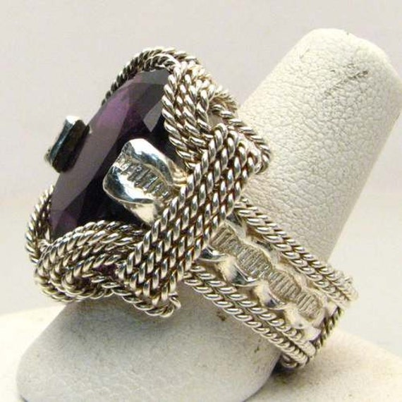 Handmade Sterling Silver Wire Wrap Concave Cut Amethyst Ring
