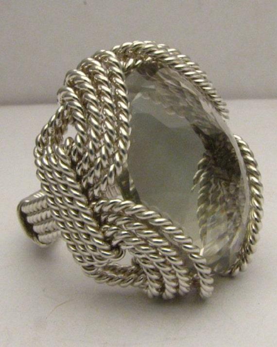 Handmade Sterling Silver Wire Wrap Prasiolite Ring
