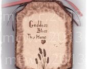 """Sign Prim Homespun Wood Wall Art  """"Goddess Bless This Home""""  OOAK"""