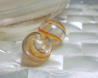 Beads Glass Clear with Orange and Brown Swirl Hand-blown 2pcs