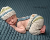 Custom Knit Beanie And Knit Baby Pants With Suspenders.