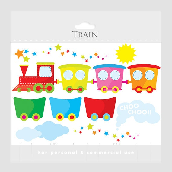 Stitched train clipart - cute train clip art and wagons, sun, clouds, smoke, stars, choo choo for personal and commercial use