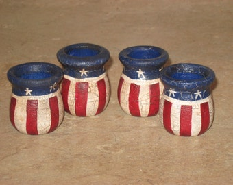 Wood Patriotic Set of 4 Candle or Toothpick Holders