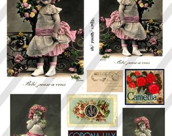 Digital Collage Sheet Vintage French Girl Images Postcards(Sheet no. O42) Instant Download