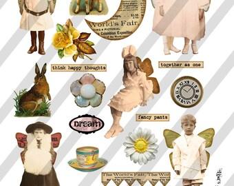 Digital Collage Sheet  Vintage Images  (Sheet no. O52) Ephemera-Instant Download