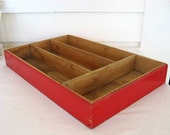 Vintage 1940's Wooden Utensil or Supply Sorting Box in Old Red Paint