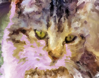 ACEO ATC - Digital Oil Painting - Smaantha Cat - Art by ruby