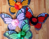 Monarch Butterfly fairy wings ( sold by the pair ) Pink, and Green Butterfly wings for girls teaparty or Flower girl